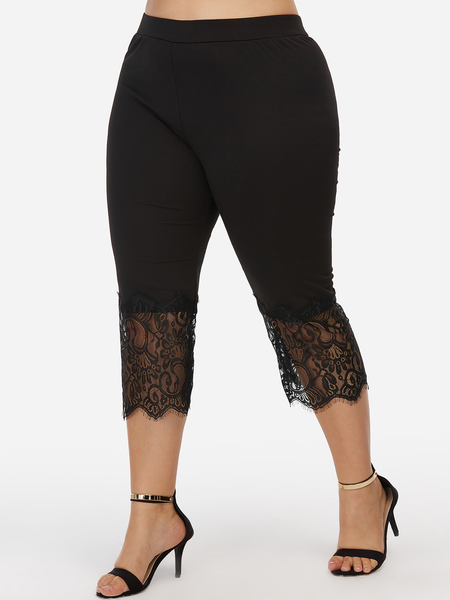 Black Lace Details Mid Length Plain Pant