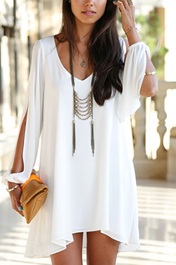 White V-neck Cold Shoulder Chiffon Dress