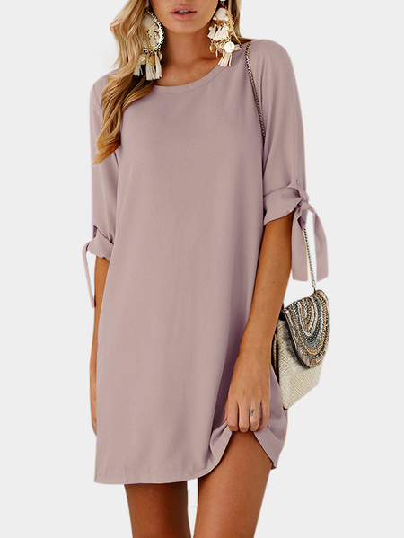 Pink Lace Up Details Plain Crew Neck Half Sleeves Dress