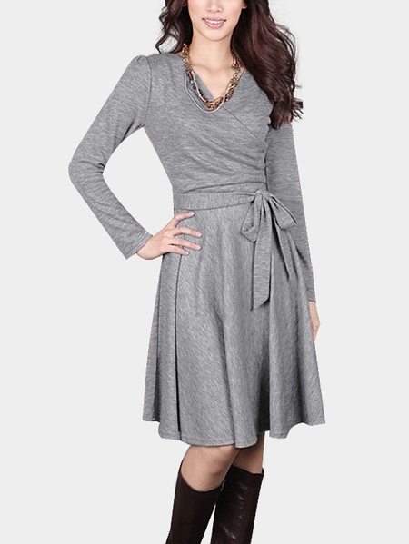 Light Grey Wrapped V-neck Ruffled Hem Self-tie Midi Dress