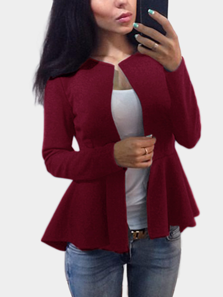 Burgundy Long Sleeves Ruffle Hem Jacket