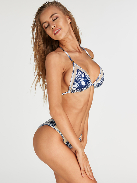 Blue Floral Print Halter V-neck Tie-up Design Bikini