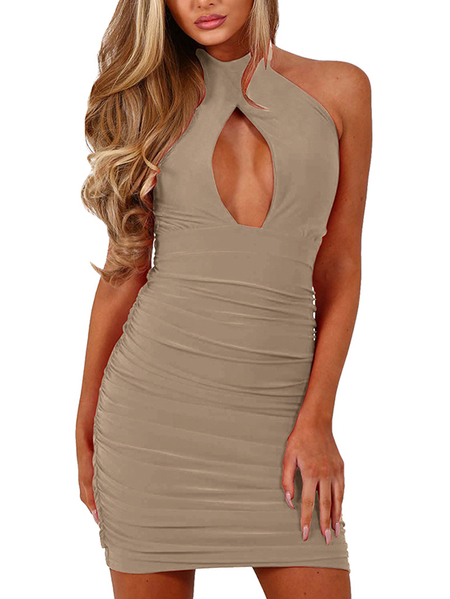 Khaki Cut Out Chest Ruched Bodycon Dress