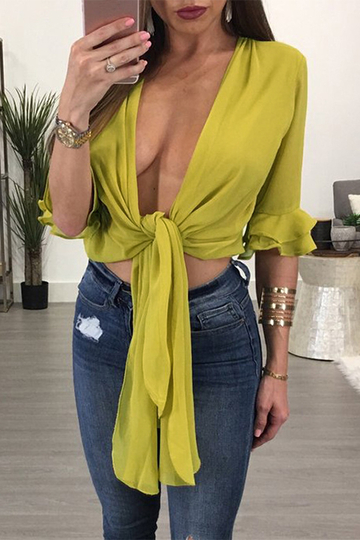 Yellow Deep V-neck Self-tie Top