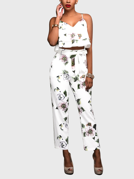 Random Floral Print Backless Two Piece Outfits