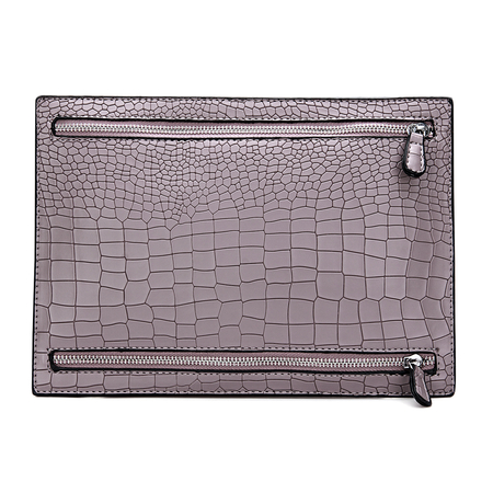 Bolso clutch Croc grabado en relieve de cuero en color morado