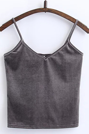 Grey Fashion Velvet Cami