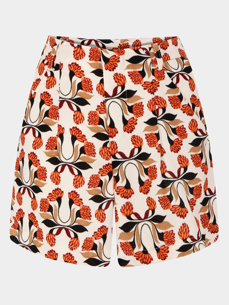 Chrysanthemum Print Shorts With High-Rise Waist