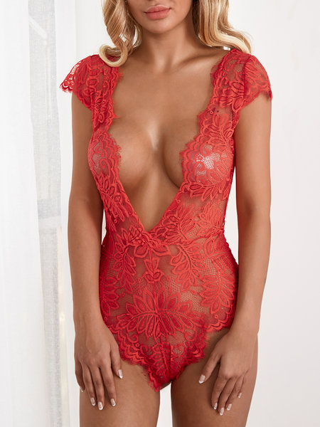Red Sexy Deep V-neck Eyelash Lace Trim Teddy Bodysuit