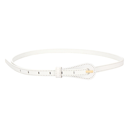 Textured Leather-look Skinny Waist Belt in White