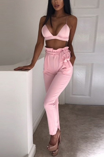 Pink Self-tie Embellished Pants