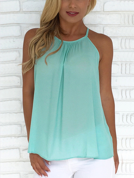 Mint Green Button-designed Halter Top