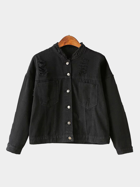 Black Rips Detalhes Denim Jacket with Two Large Pockets