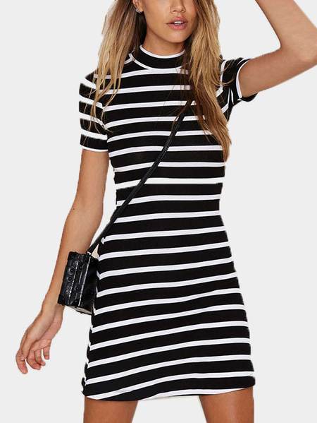 Stripe Pattern Round Neck Mini Dress