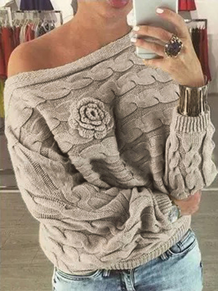 Beige Off Shoulder Bat-wing Sleeves Random Floral Sweater