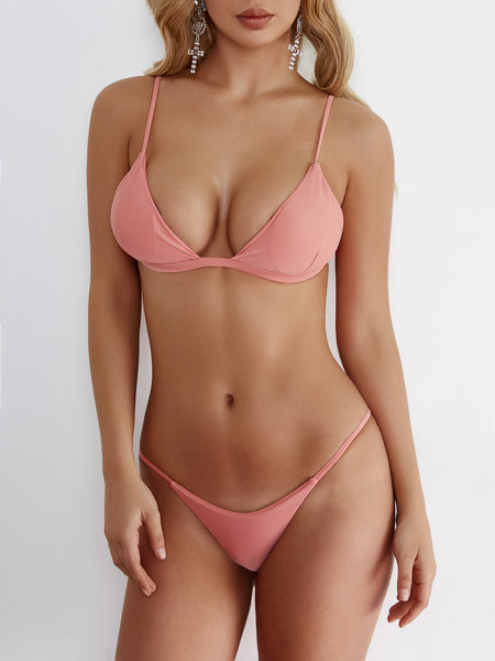 Pink Bodycon Low Cut V-neck Bikini Set