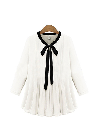Plus Size White Bow Drawstring Chiffion Blusa