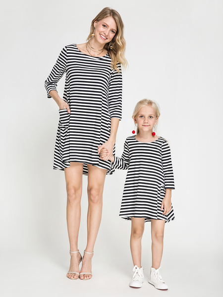 Mom and Me Stripe Round Neck Long Sleeves Dress in Black