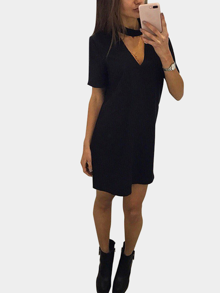 Black Causual Round neck V-Cutout Mini A-line Dress