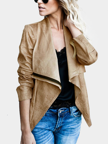 Brown Zipper Design Lapel Collar Suede Jacket