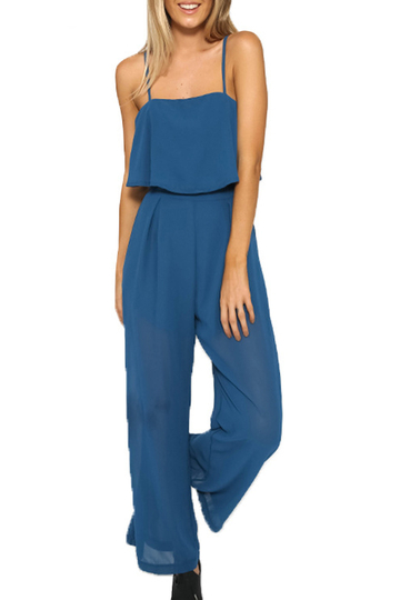 Blue Square Neck Overlay Mesh Jumpsuit