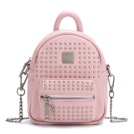 Rivet Deisgn Leather-look Mini Backpack in Pink