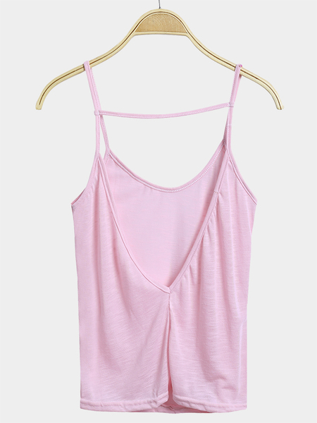 Sexy Pink Plunge Backless Cami Top