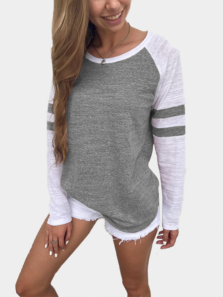 Grey Spell Color Round Neck Long Sleeves T-shirt