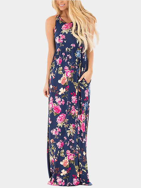 Navy Random Floral Printed Maxi Dress