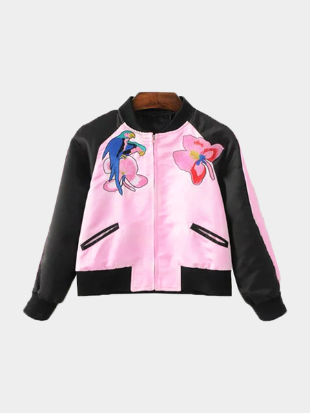 Black And Pink Splicing Jacket With Animal Embroidery Pattern