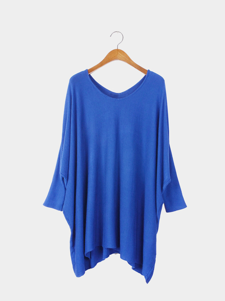 Blue Bat Sleeves Loose Knitted Jumper