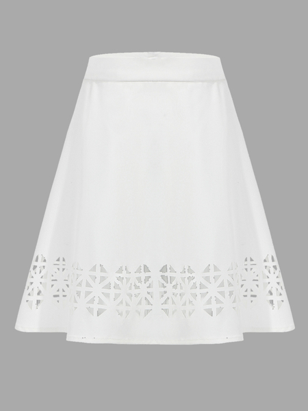 A Line Mini Skirt With Hollow Out Detalhes