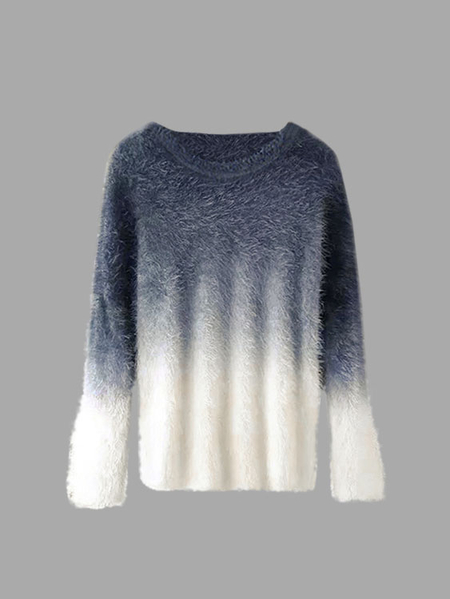Grey Gradient Color Chic Long Sleeves Pullover Sweater