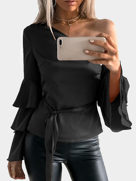 Black One Shoulder Ruffle Bell Sleeves Blusa com cinto