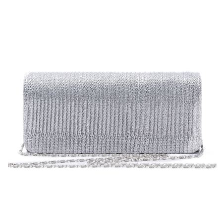 Silver Plain Design Clutch Bags with Chain