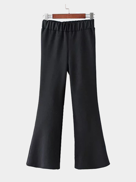 Black Wide Leg Flared Elastic Trousers
