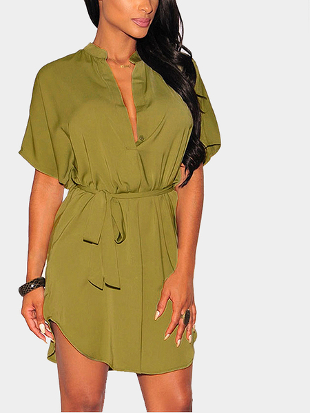 Dark Green Plunge Loose Curved Hem Mini Dress