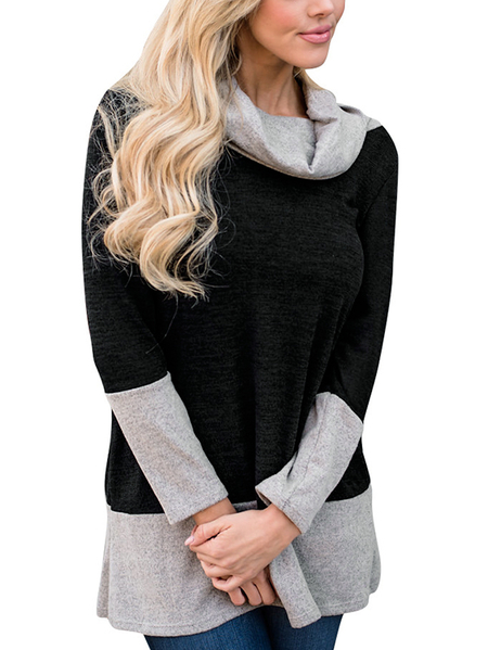 Black Cozy Roll Neck Colorblock Sweatshirts
