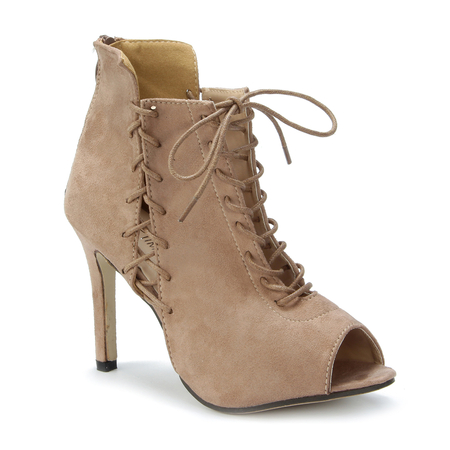 Apricot Peep-toe Lace-up Design Zipper Back Tacones de aguja