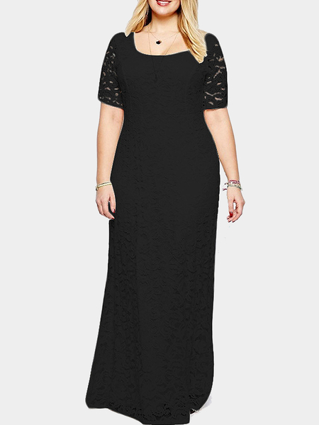 Plus Size Black Floral Lace Maxi Dress