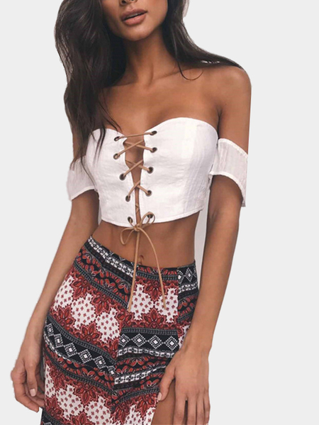 White Off-the-shoulder Lace Up Crop Top