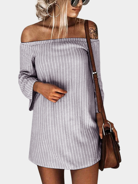 Grey Sexy Off Shoulder Lace Up Stripe Pattern Mini Dress