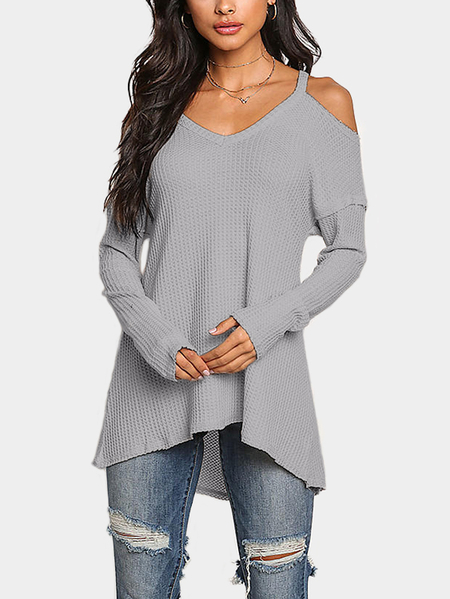 Grey Cold Shoulder Long Sleeves Knitted Top