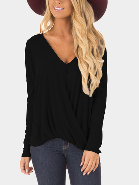 Black Crossover Drop Shoulder Long Sleeves Surplice Blouse
