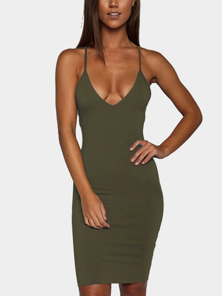 Army Green Sexy V-neck Open Back Dress
