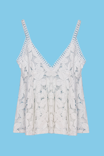 White Plunge V-neck Hollow Lace Cami