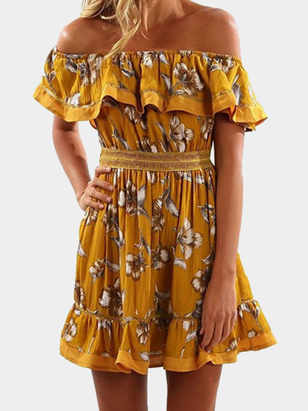 Orange Floral Pattern Off Shoulder Tiered Design Cap Sleeves Midi Dress