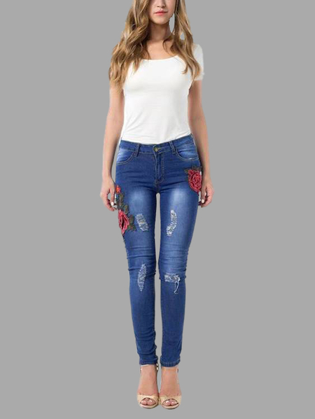 Blue Mid-rise Rips Details Embroidered Jeans