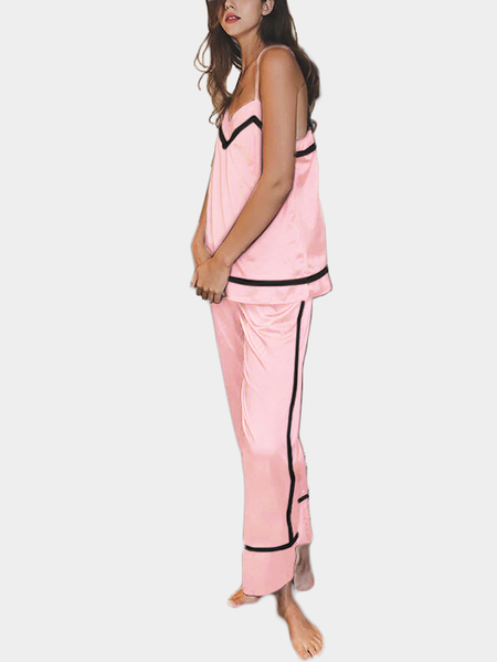 Light Pink V Neck & Sleeveless Pajamas Suit