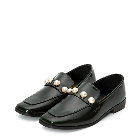 Pearl Embellished Patent Leather Loafers